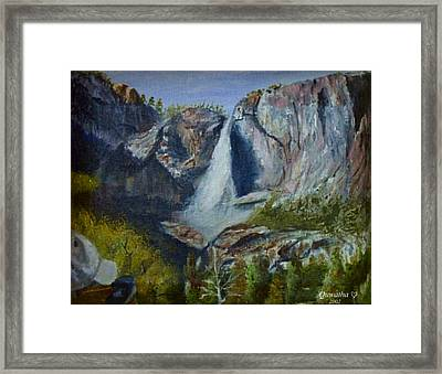 Framed Print featuring the painting Yosemite Waterfall by Quwatha Valentine