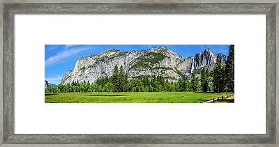 Yosemite West Valley Meadow Panorama #2 Framed Print
