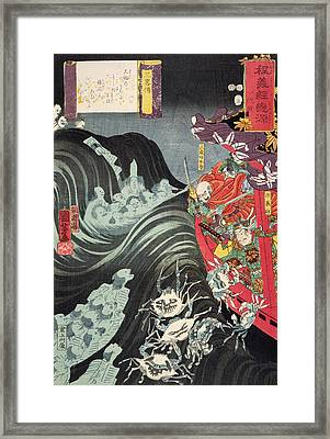 Yoshitsune With Benkei And Other Retainers In Their Ship Beset By The Ghosts Of Taira Framed Print by Utagawa Kuniyoshi