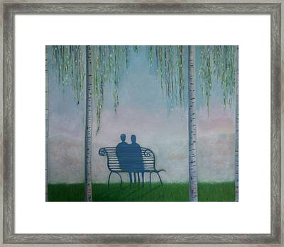 Framed Print featuring the painting You And I On The Bench by Tone Aanderaa