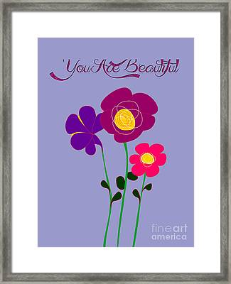 You Are Beautiful - Poppies Framed Print by Celestial Images