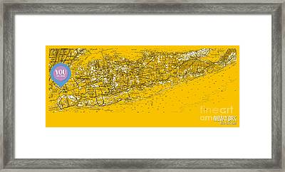 You Are Here New York Old Map Year 1954 Framed Print by Pablo Franchi