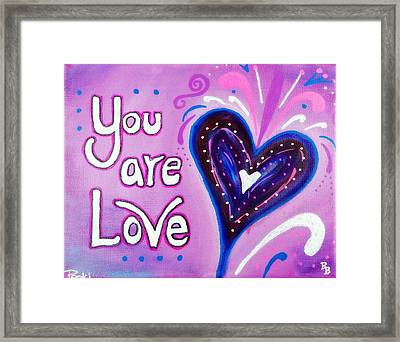 You Are Love Purple Heart Framed Print