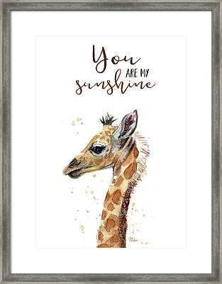 You Are My Sunshine Giraffe Framed Print by Olga Shvartsur