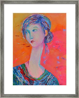 Woman Portrait Painting Pink Framed Print by Magdalena Walulik
