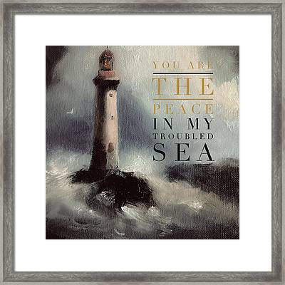 You Are The Peace In My Troubled Sea Lighthouse Framed Print