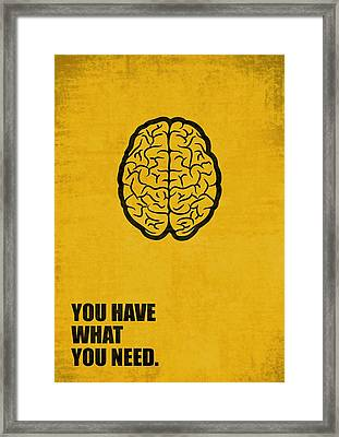 You Have What You Need Corporate Start-up Quotes Poster Framed Print by Lab No 4
