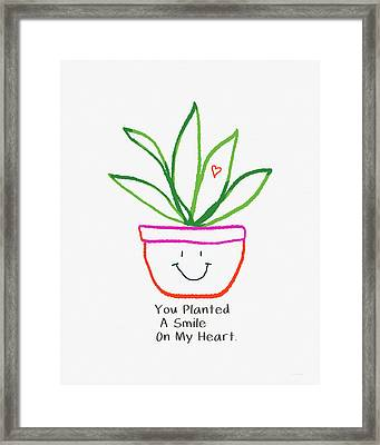 Framed Print featuring the mixed media You Planted A Smile- Art By Linda Woods by Linda Woods