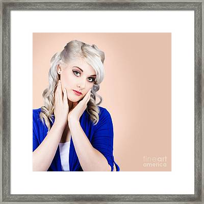 Young Adult Woman Touching Beautiful Face Framed Print by Jorgo Photography - Wall Art Gallery