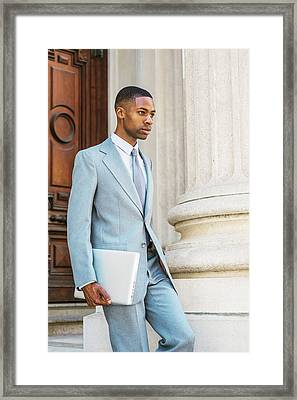 Young African American Businessman Working In New York Framed Print