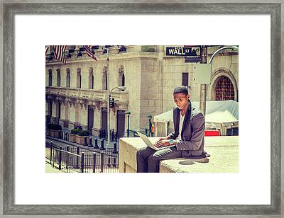 Young African American Man Working On Wall Street In New York Framed Print