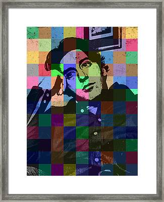 Young Al Pacino Actor Hollywood Pop Art Patchwork Portrait Pop Of Color Framed Print
