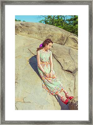 Young American Woman Summer Fashion In New York Framed Print