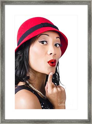 Young Asian Girl With Surprised Expression  Framed Print