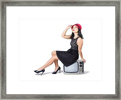 Young Asian Woman Sitting On 70s Tv Set Framed Print