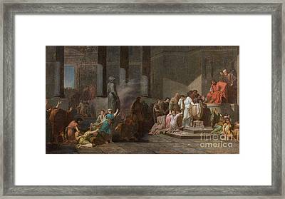 Young Athenian And Athenian Casting Lots To Be Delivered To The Minotaur Framed Print by MotionAge Designs