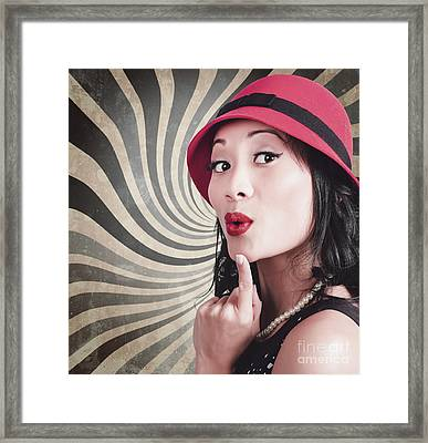 Young Attractive Chinese Woman Expressing Surprise Framed Print by Jorgo Photography - Wall Art Gallery