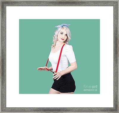 Young Beautiful Caucasian Woman In Retro Styling Framed Print