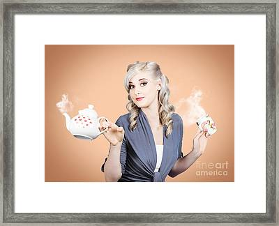 Young Beautiful Girl Drinking Tea Or Coffee Framed Print by Jorgo Photography - Wall Art Gallery