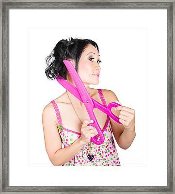 Young Beautiful Woman Cutting Hair At Beauty Salon Framed Print