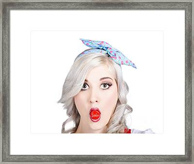 Young Beautiful Woman Holding A Bottle Cap In A Mouth Framed Print