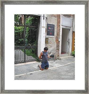 Young Begger Framed Print