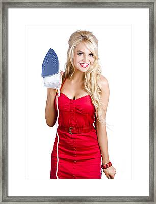 Young Blond Woman With Iron Framed Print by Jorgo Photography - Wall Art Gallery
