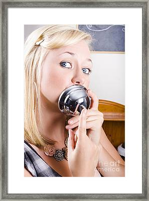 Young Blonde Woman Ringing The Bell Of Lip Service Framed Print
