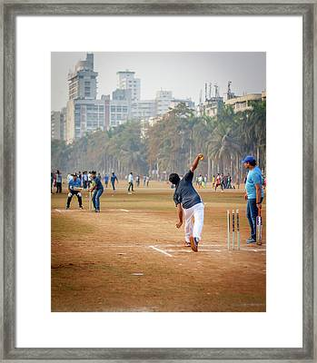 Young Boys Playing Cricket With Tennis Ball At Mumbai Grounds Framed Print by Snehal Pailkar