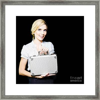 Young Business Lady Pleased At Her Promotion Framed Print by Jorgo Photography - Wall Art Gallery