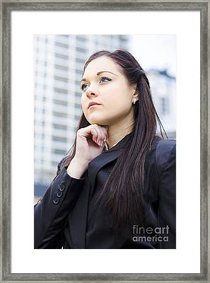 Young Business Woman With Grand Business Ideas Framed Print by Jorgo Photography - Wall Art Gallery