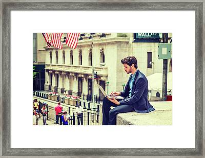 Young Businessman Working On Wall Street In New York Framed Print
