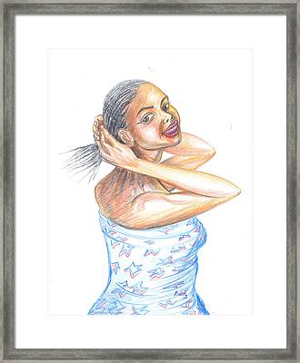 Framed Print featuring the painting Young Cameroun Woman Tying Her Hair by Emmanuel Baliyanga