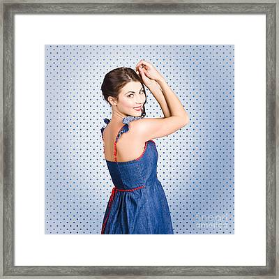 Young Caucasian Woman Posing In Retro Denim Dress Framed Print by Jorgo Photography - Wall Art Gallery