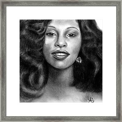 Young Chaka Khan - Charcoal Art Drawing Framed Print