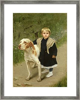 Young Child And A Big Dog Framed Print