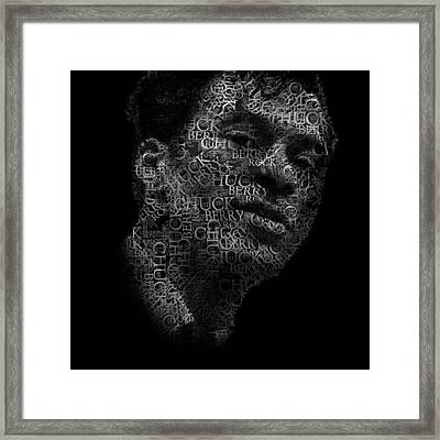 Young Chuck Berry Text Portrait - Typographic Face Poster With The Name Of Chuck Berry Albums Framed Print by Jose Elias - Sofia Pereira