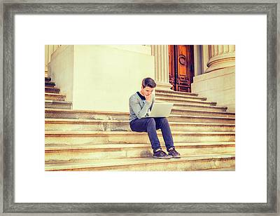 Young College Student Studying In New York 15042516 Framed Print