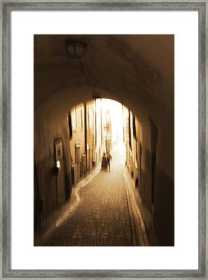Young Couple In An Alley - Monochrome Framed Print by Ulrich Kunst And Bettina Scheidulin