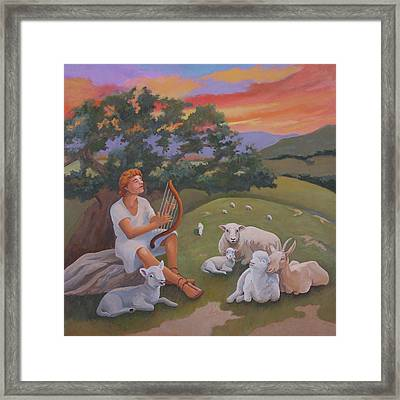 Young David As A Shepherd Framed Print