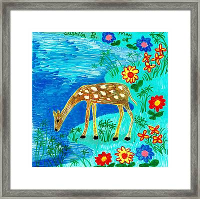 Young Deer Drinking Framed Print by Sushila Burgess