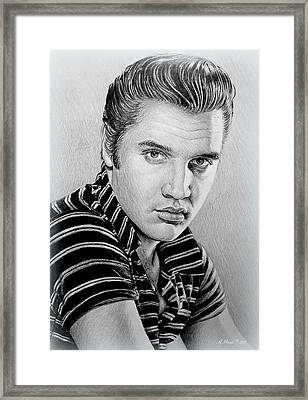 Young Elvis Bw Framed Print by Andrew Read