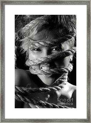 Young Expressive Woman Tied In Ropes Framed Print by Oleksiy Maksymenko
