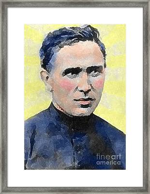 Young Father Damien Framed Print by James Temple