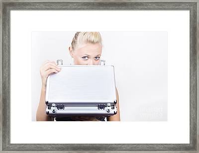 Young Female Accounts Employee Looking In Case Framed Print by Jorgo Photography - Wall Art Gallery