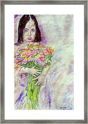 Young Flower Girl Framed Print by Richard Wynne