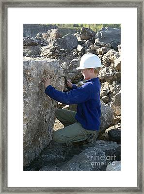 Young Geologist Framed Print by Ted Kinsman