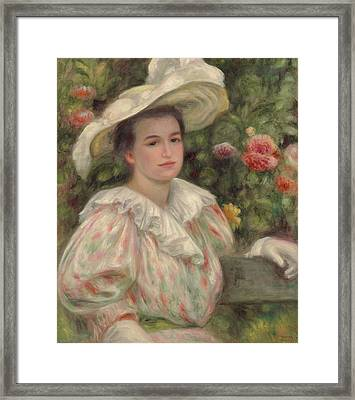 Young Girl Amongst Flowers Or Woman With White Hat Framed Print by Pierre Auguste Renoir