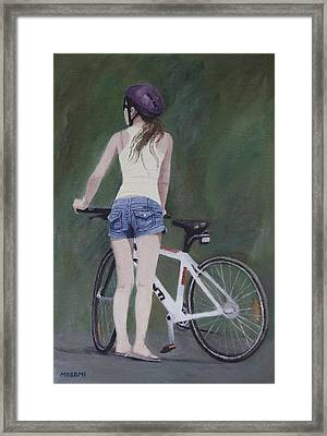 Young Girl And Bicycle Framed Print