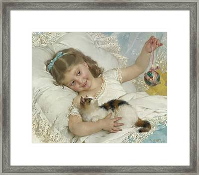 Young Girl And Cat Framed Print by Emile Munier